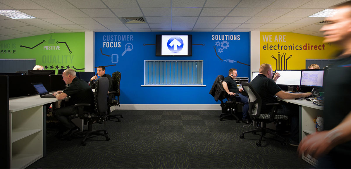 A wide shot of the Electronics Direct office with ED components sourcing specialists working at their desks